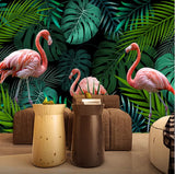wall mural pink flamingos
