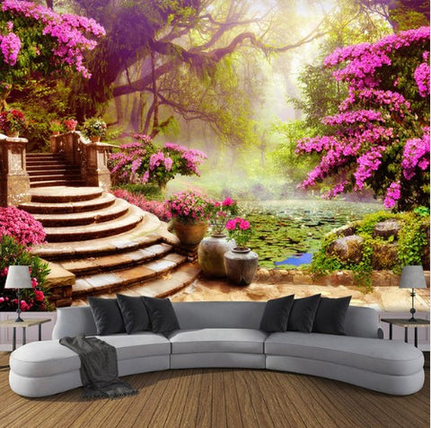 3D Garden With Pink Flowers and Forest Background Wallpaper for Walls