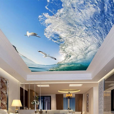 ocean wave ceiling wallpaper