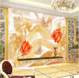 orange flowers wall mural
