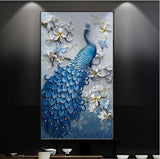 wall mural blue peacock