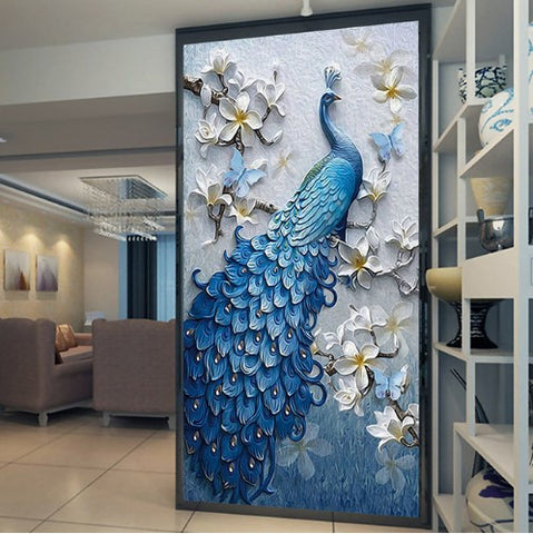 Gorgeous Blue Peacock Design Wallpaper For Home Or Business 3d Mural