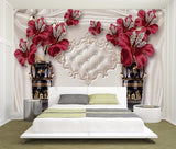 3D Red Floral Diamond Jewelry Wallpaper Elegant European Style Mural