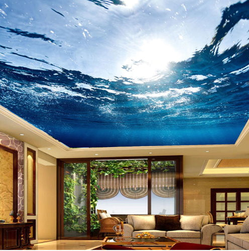 3D Underwater Realistic Ceiling Wallpaper Mural For Home