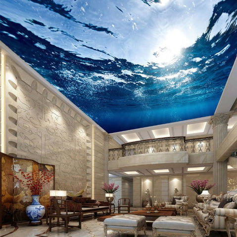 3d Underwater Realistic Ceiling Wallpaper Mural For Home Or