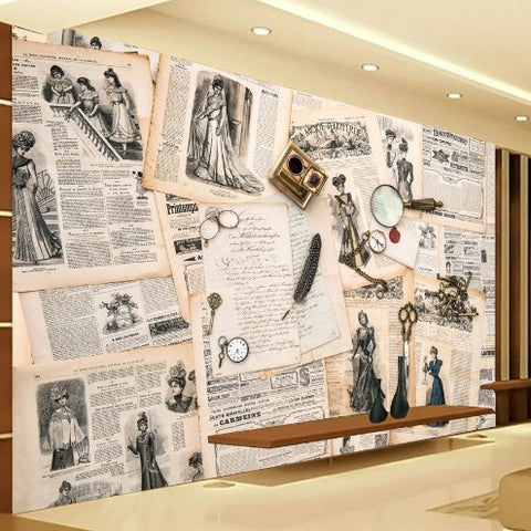 vintage newspaper wall mural
