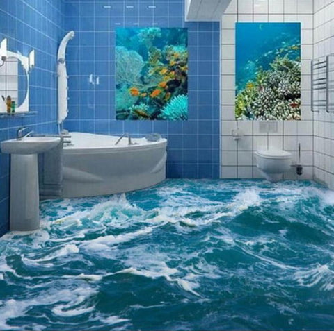 ocean waves mural for floor