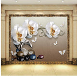 white orchid floral wallpaper
