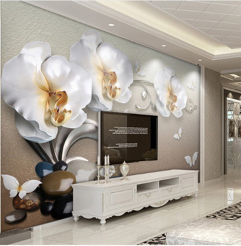 Wall Mural Photo Wallpaper Xxl Flowers Orchids Texture: 3D White Orchid Flowers And Butterflies Stereoscopic