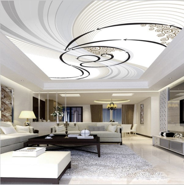 3d Black And White Swirl Ceiling Wall Mural Custom