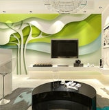 green trees modern wallpaper