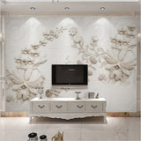 3d relief white flower wallpaper