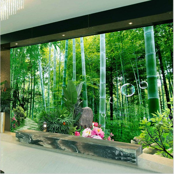 3d Bamboo Forest Bridge Wallpaper For Home Or Business
