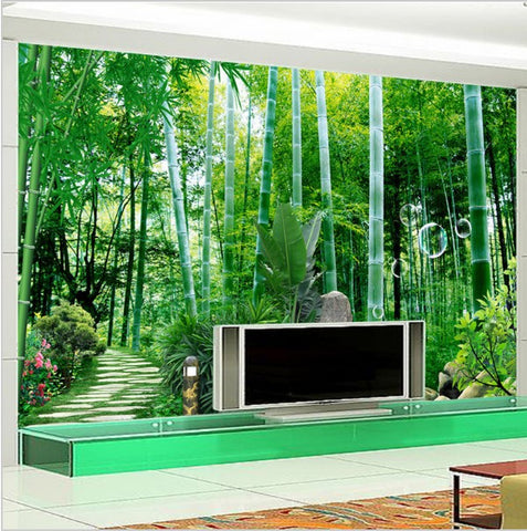 3d bamboo forest bridge wallpaper for home or business for Bamboo forest mural wallpaper