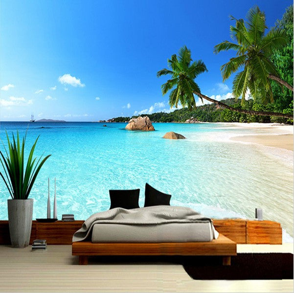 3d Beach Palm Tree Ocean Seascape Photo Wallpaper For