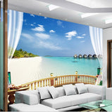white beach wall mural