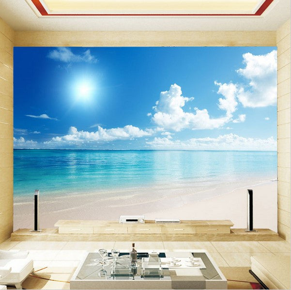 Wood Floor On Beach Sea And Blue Sky For Background Stock: 3d Blue Sky Sea View Custom Wallpaper For Walls Sandy