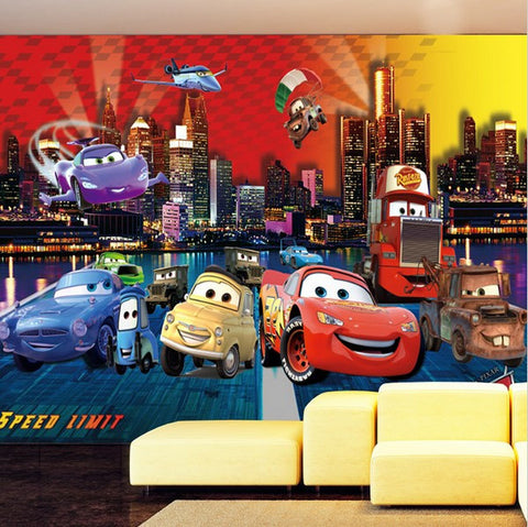 3d Airplane And Cars Cartoon Lightning Mcqueen Photo Wallpaper Mural