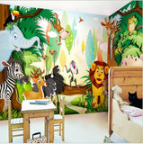cartoon animal wall mural