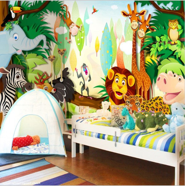 Kids Room Murals: 3D Cartoon Animals Forest Wallpaper For Kids' Room