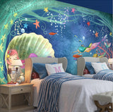 cartoon mermaid mural
