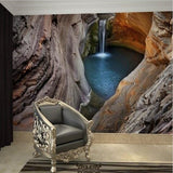 waterfall cave design wallpaper