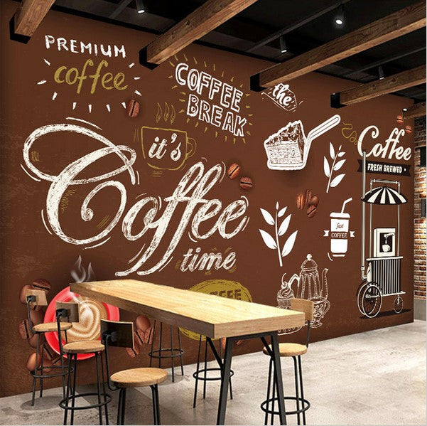 European Style Hand-painted Writing Images Coffee Shop ...