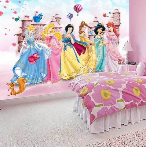 Custom Photo Cartoon Princesses 3D Wallpaper Castle Mural