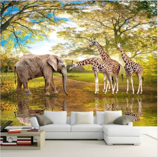 3d Animals Elephant Giraffes Landscape Wallpaper For Home