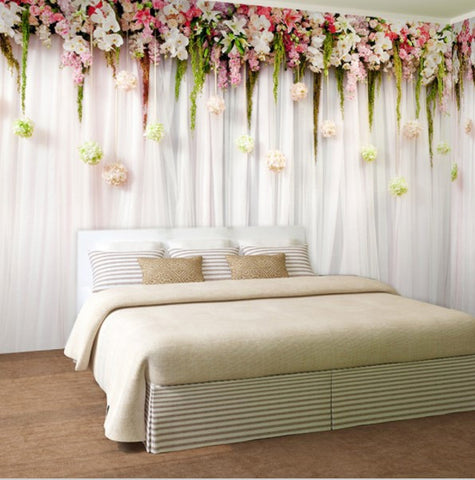 floral curtain wallpaper