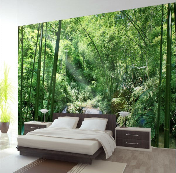 3d Bamboo Forest Small Waterfall Trees Wallpaper For Home