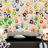 retro graffiti wall mural