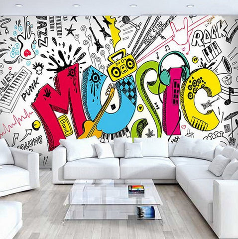 graffiti music wall mural
