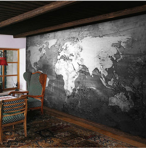 D Retro Nostalgia Style Gray World Map Design Wallpaper For Walls - Floor to ceiling world map
