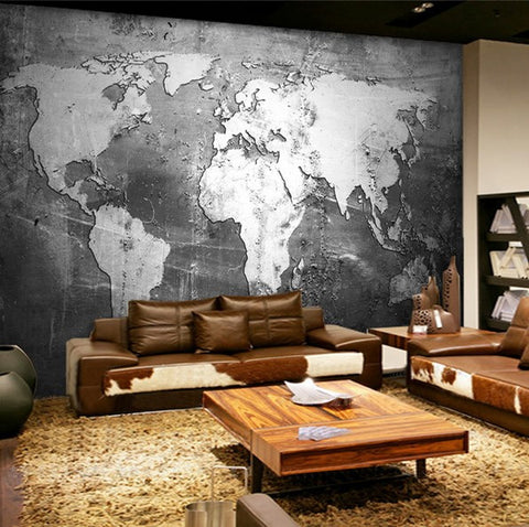 3d retro nostalgia style gray world map design wallpaper for walls retro world map wallpaper gumiabroncs Choice Image