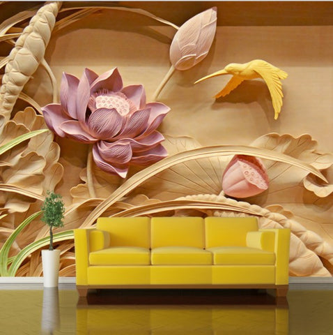 D lotus flower wood carving photo wall mural custom sizes