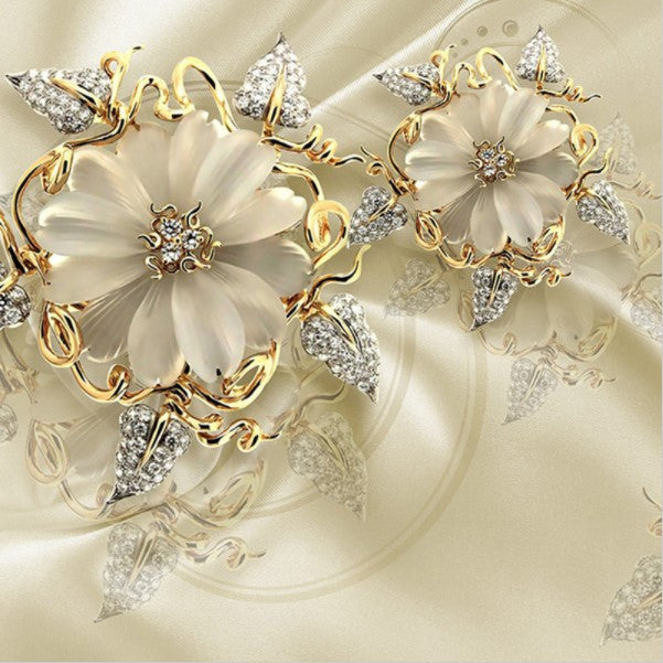 3D Gold Diamond Floral Jewelry Wallpaper For Wall Marble