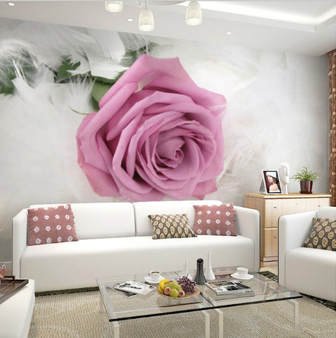 3D Pink Rose Flower Photo Wallpaper for Walls Customized Wall Mural ...