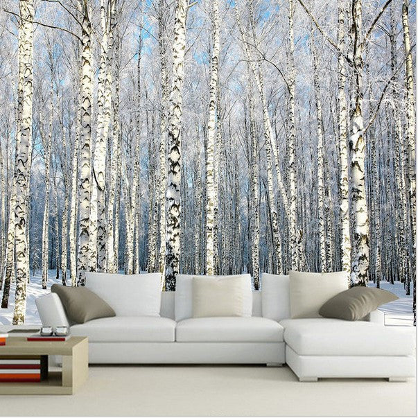 3d Winter Forest Snow Birch Trees Photo Wall Mural ...