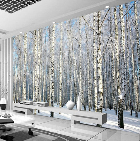 3d winter forest snow birch trees photo wall mural for Tree wallpaper for walls