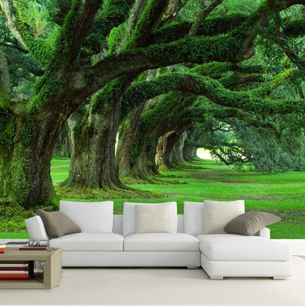 3D Green Forest Wallpaper For Home Or Business Moss Trees