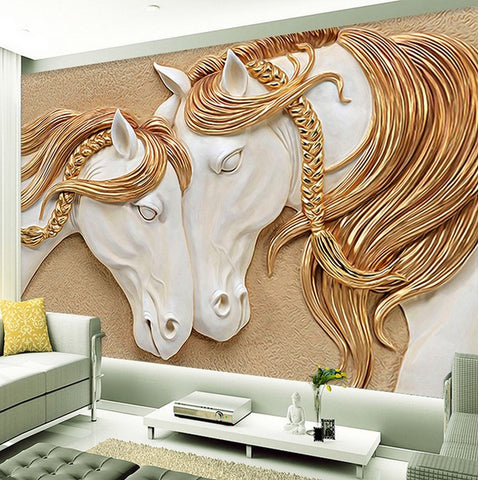 3d embossed horse wallpaper