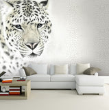white leopard wall mural