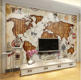 3D Retro World Map Wines Theme Wallpaper for Walls Wall Art