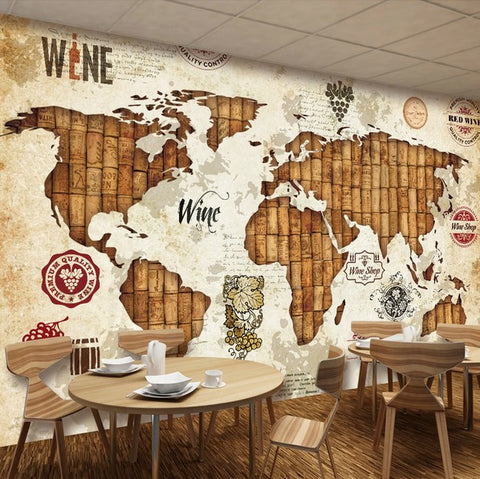 3D Retro World Map Theme Wallpaper for Walls Wall Art