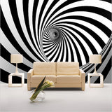 black and white tunnel swirl wallpaper