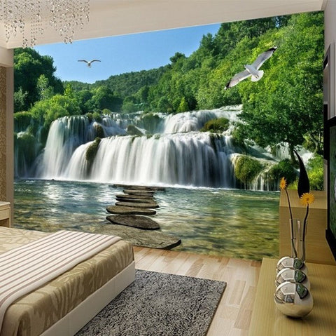 3d Waterfall Shallow Lake Stones Seagull High Quality Nature