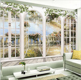 3d European Window Arches Balcony Overlooking Lake Wallpaper