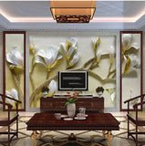 3D relief white lilies wall mural