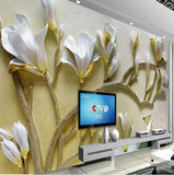 white lilies 3d relief wall mural
